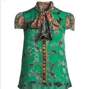 Jeannie Bow Floral Collar Blouse
